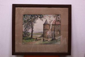 Quadro ad acquerello su carta con paesaggio con vetro e cornice watercolor art
