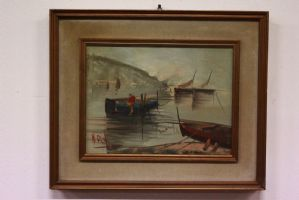 Oil painting on canvas depicting landscape with boats painting canvas