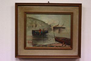 Dipinto quadro olio su tela raffigurante paesaggio con barche painting canvas