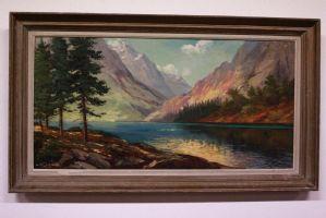 Dipinto olio su tavola raffigurante paesaggio alpino con laghetto painting oil