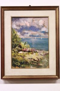 Dipinto olio su tavola oil on panel painting '900 raffigurante bel paesaggio