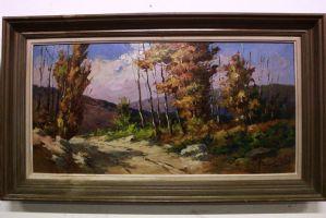 "Grande bonita paisagem de montanha, pintura assinado ""Roustin"" pintura moldada / óleo"