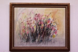 Framed print depicting flowers in abstract pattern signed abstract print