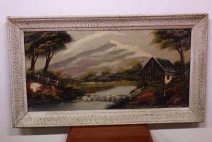 Dipinto olio su tela con cornice raffigurante paesaggio alpino con casa e fiume