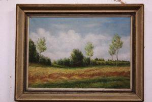 Dipinto olio su tela paesaggio con campo di grano firmato oil on canvas painting