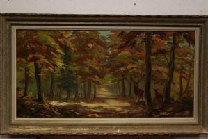 Peinture / peinture à l'huile sur le paysage forestier paysage toile XXe siècle. signed