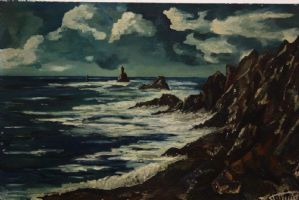 Dipinto / quadro olio su tela paesaggio scogliera oceano oil on canvas signed