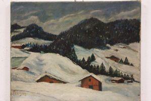 Dipinto olio su tela oil on canvas paesaggio alpino alps landscape painting