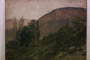 Dipinto olio su tavola raffigurante un paesaggio alpino con boschi oil on panel