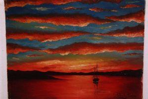 Dipinto olio su tela raffigurante un paesaggio marittimo con tramonto oil canvas