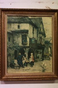 Canvas print with frame depicting city life scene print on canvas