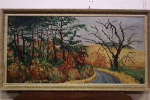 Dipinto olio su tavola raffigurante paesaggio di campagna painting oil on board