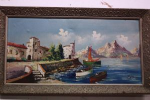 Oil painting on canvas depicting port landscape with painting oil painting