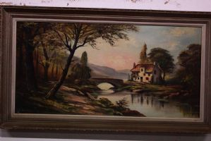 Oil painting on canvas depicting landscape with bridge and cottage painting canvas