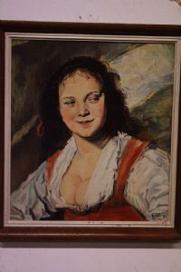 "Oil on copy table of ""Bohemian"" by Frans Hall signed with painting frame"