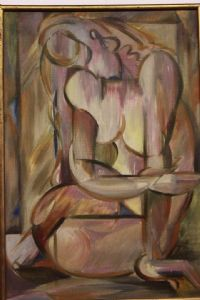 Oil on canvas depicting nude with abstract abstract oil canvas technique