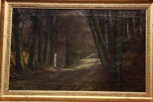 Olio su tela fine '800 XIX sec, con cornice paesaggio oil canvas landscape old