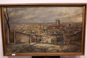 Painting city landscape, oil on canvas signed and dated JR Dulier, painting