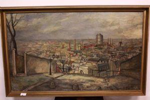Pintura paisaje de la ciudad, óleo sobre lienzo firmado y fechado JR Dulier, pintura