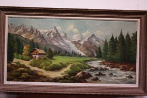 Oil painting on canvas depicting mountain landscape with stream painting