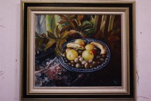 Oil painting on canvas still life signed with painting oil on canvas