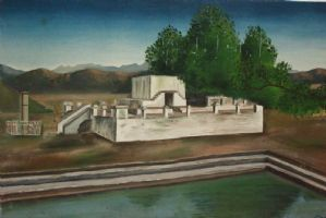 Oil painting on canvas depicting landscape with architecture painting oil canvas