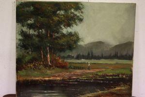 Huile sur toile représentant un paysage de campagne avec huile sur toile de peinture sujet