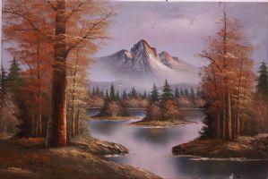 Peinture à l'huile sur toile représentant le paysage de montagne avec la peinture du lac alpin