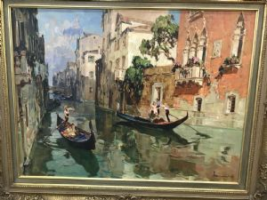 Angelo Brombo, Chioggia 1892 - Venezia 1962, Canale con gondole a Venezia, olio su tela cm. 60 x 80