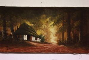Oil painting on canvas depicting landscape with forest and hut painting