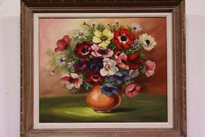 Oil painting on canvas depicting beautiful flower vase with painting painting canvas