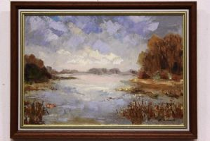 Oil painting on canvas depicting swampy landscape with trees painting canvas