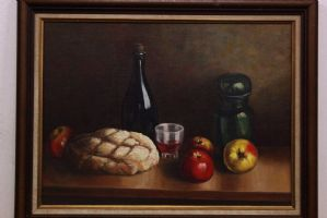 Oil painting on canvas glued on table depicting still life painting oil