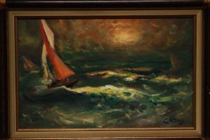 Oil painting on table depicting stormy sea with boat painting canvas