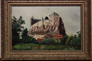 Painting / oil painting on table depicting landscape with castle painting oil