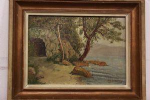 Dipinto / quadro olio su tavola raffigurante grotta marina painting oil on panel