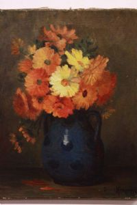Oil painting on canvas depicting a vase of flowers signed painting oil on canvas