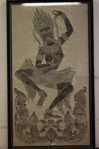 Quadro Zeichnung und Pauspapier auf Glas und Rahmen Zeichnung Gottheit Göttin