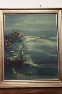 Olio su tela raffigurante paesaggio di mare con porto e barche oil on canvas