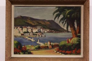 Oil painting on canvas depicting beautiful Greek landscape painting oil on canvas