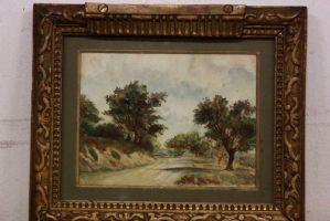 Quadro acquerello su carta raffigurante paesaggio con alberi watercolor '800
