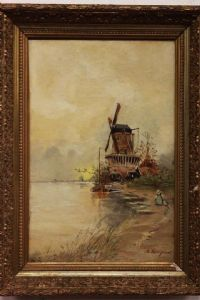 Oil painting on canvas depicting windmill signed A. Longuet with frame