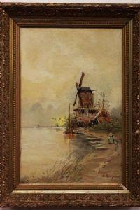 Dipinto olio su tela raffigurante mulino a vento firmato A. Longuet con cornice