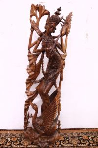 Teak statue of bali goddess kali antique oriental sculpture goddess