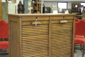 Serrandina Liberty deco! 1940 Schedario mobile rullo classificatore! Libreria credenza restaurata