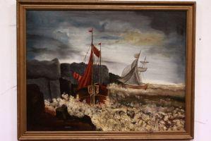 大涂上布面油画大风相框签名并注明日期Piget 14/08/1911