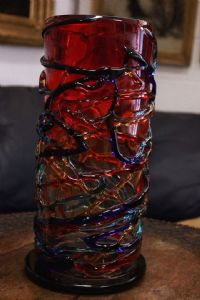 Gorgeous original Murano glass jar signed Sergio Costantini / glass