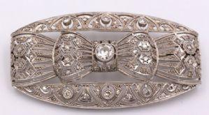 Spilla Art Deco' in platino e brillanti