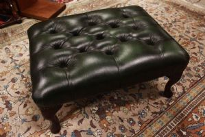 Pouf / puff chesterfield chester original English leather green England color
