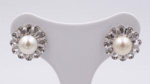 Orecchini in oro bianco e perle anni 50